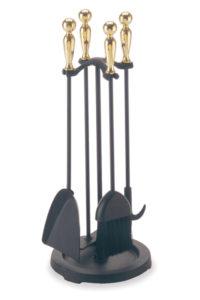 Matte Black with Black Handles Pilgrim Hearth Barrel Handle Stove 5 Piece Iron Fireplace Tool Set Finish